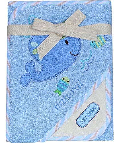 BOBOBABY Baby Jungen Badetuch mit Kapuze 76cm x 76cm aus 100% Baumwolle Blau-Wal (EKO-M)