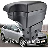 Reposabrazos de cuero negro de doble capa para consola central Focus MK2 2005-2011