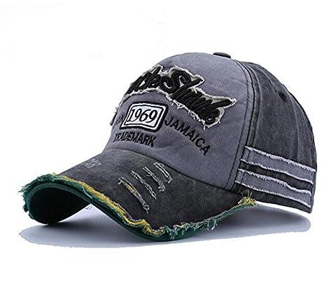 elwow hommes de délavé Vintage Lettre Imprimé Casquette de baseball, Coque à clipser truker Hat, Chapeau Pêche Randonnée noir Noir