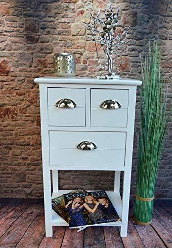 Livitat® Kommode Telefontisch Anrichte mit 3 Schubladen Landhaus Vintage Weiß 70 cm Höhe LV1026 - Antik Beistelltisch Weiß