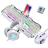 Guanwen Mechanische Gaming-Tastaturmaus und -Headset, Blauer RGB-Hintergrundbeleuchtetes Metall-Kabel mit Tastatur und 3200 DPI-Maus + Bunte Lichtgaming-Gaming-Kopfhörer