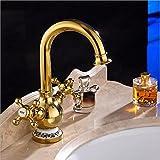 LHbox Im europäischen Stil, Moderne, doppel Waschbecken im Bad Armaturen, Kupfer Gold Blau gefliesten Waschbecken Wasserhahn, heißes und kaltes Wasser Waschbecken Armaturen