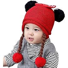 f9eeb3713 Gogokids Bebé Niñas Invierno Sombrero de Punto Earflap Gorras de Pompón