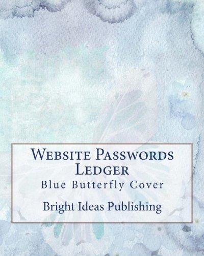 Website Passwords Ledger: Blue Butterfly Cover