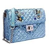 PACO TORA Sac De Velours Cuir PU Sac Bandouliere Mode Sac à Main Femmes Chaîne Sac De Messager - Classic Collection (Blue)