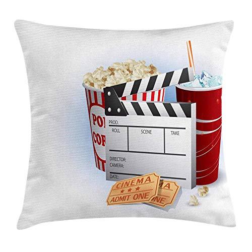 Movie Theater Throw Pillow Cushion Cover, Soda Tickets Fresh Popcorn and Clapper Board Blockbuster Premiere Cinema, Decorative Square Accent Pillow Case, 18 X 18 Inches, Multicolor