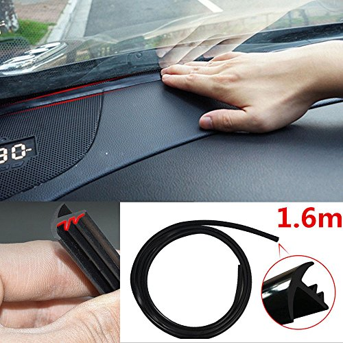 AST Works 1.6m Soundproof Dustproof Sealing Strip for Auto Car Dashboard Windshield Black