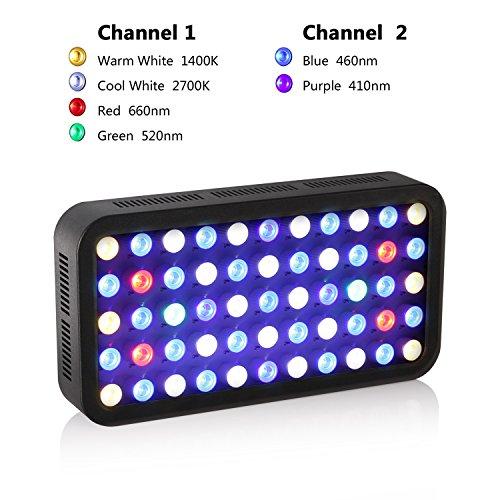 Roleadro 165w LED Aquariumbeleuchtung Dimmable für Fisch Riff Korallen Led Meerwasser Beleuchtung fur Fish Tank und Nano Aquarium 40x21x6cm Schwarz - 2