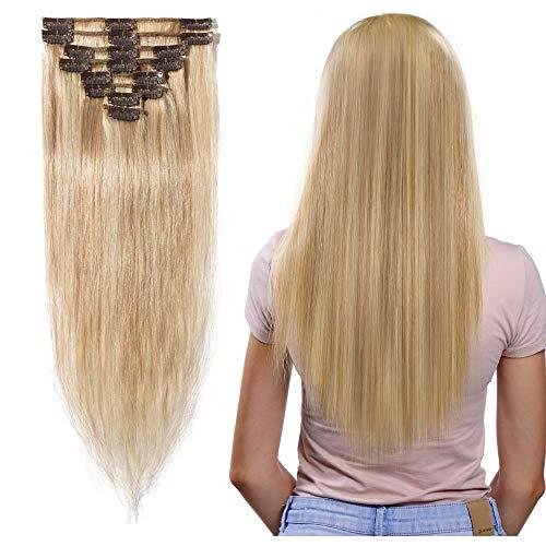 Extension clip capelli veri con mèches remy human hair 8 fasce set lisci umani lunga 50cm pesa 70grammi, 18/613 biondo cenere mix biondo chiarissimo