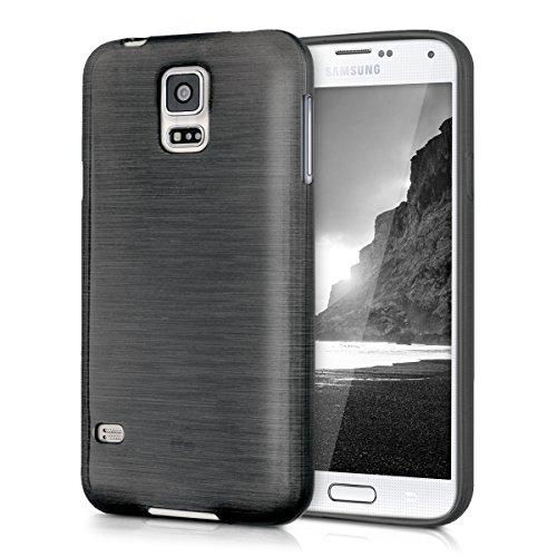 kwmobile Funda para Samsung Galaxy S5 / S5 Neo / S5 LTE+ / S5 Duos   Case para móvil en TPU silicona   Cover trasero Diseño Aluminio cepillado en antracita transparente