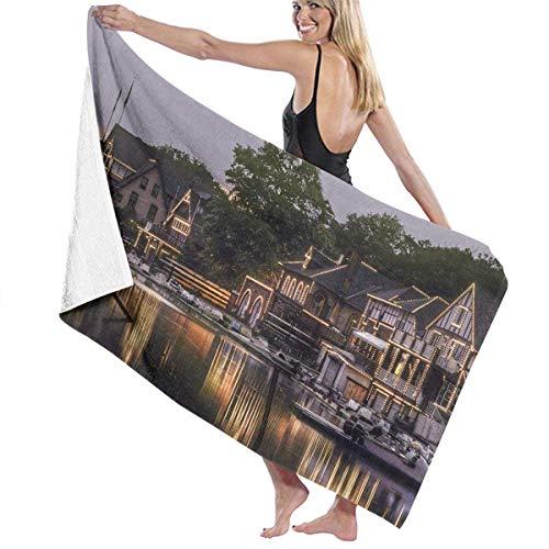 Zhengzho Philadelphia Bootshaus Reihe Philly Reflection Adult Mikrofaser Strandtuch Übergröße 80X130 cm Schnelltrocknend Hochsaugfähig Mehrzweckgebrauch Stranddecke für Frauen Männer