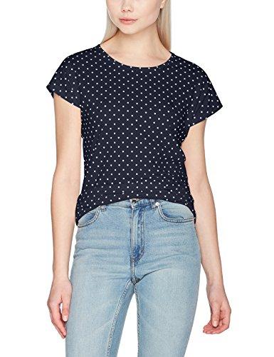 VERO MODA Damen T-Shirt Vmsally S/S Top Box D2-3 Blau (Navy Blazer Aop:Snow White Dots), 38 (Herstellergröße: M) (Dots Kurzarm-t-shirt)
