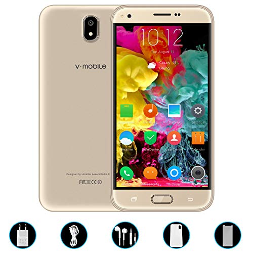 Telefonos 4g Baratos,8Pcs 5.5 Pulgadas 8GB ROM Doble Sim 5MP Cámara 2800mAh Batería Android 7,0 Smartphone Telefono Movil Libres Baratos 1.3GHz Quad Core WIFI GPS Bluetooth V Mobile J5(1Oro)
