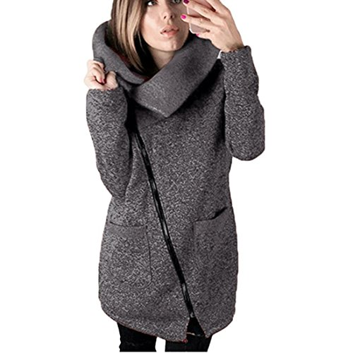 Damen Strickjacke Xinan Herbst Winter Hooded Coat Long Zipper Pullover Outwear Mantel (XXXXL, ❤️Dunkelgrau) (Spitze Oben Stil)