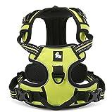 Kismaple, Hundegeschirr, Pet 3m Reflektierende Streifen, klein, mittelgroß, groß, Brustgeschirr für Hunde, Geschirr für Hunde, verstellbar, weich gepolstertes Brustgeschirr (grün)