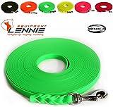 LENNIE Extra leichte Schleppleine aus 13 mm Super Flex BioThane / 1-30 Meter [7 m] / 6 Farben [Neon-Grün] / geflochten/ohne Handschlaufe