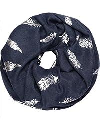 caripe XXL Winter Damen Loop-Schal warm Schlauchschal groß Halstuch silber glänzend Feder Anker - metwi1