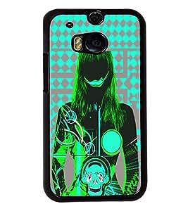 Fuson Blue Skull Pattern Girl Back Case Cover for HTC ONE M8 - D3897