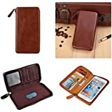DFV mobile - Executive Wallet Case with Magnetic Fixation and Zipper Closure for => ORANGE MONTE CARLO > Coffee