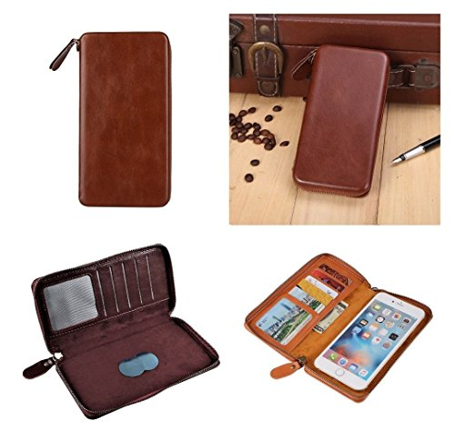 DFV mobile - Executive Wallet Case with Magnetic Fixation and Zipper Closure for => LG D415 OPTIMUS L90 (LG W7) (2014) > Coffee (Lg D415 Wallet Case)