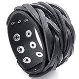 Breiter Armreif von MENDINO im Punkrock-Stil, unisex, aus geflochtenem Leder, Schwarz, für Handgelenke mit einem Umfang von 17,8 bis 20,3 cm