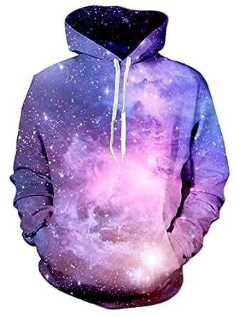 Bfustyle Unisex 3D Galaxy Print Langarm-Taschen-Pullover Hoodie