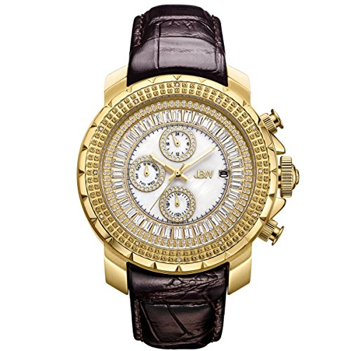 JBW Hombres del Reloj de Diamond con Cristales de Swarovski Oro marrón