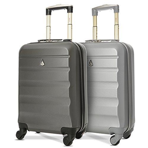 Aerolite - 2 trolley in abs con guscio duro e anti-graffio - perfetti come bagaglio a mano in cabina con 4 ruote (55 x 35 x 20 cm) - coppia di valigie (nera/argento)