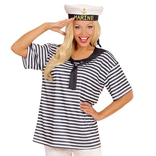 Amakando Maritimes Matrosen-Shirt mit Schiffermütze / Weiß-Blau XL / Seemanns-Mütze & Fischer-Hemd für Männer & Frauen / Genau richtig zu Fastnacht & Kostümfest