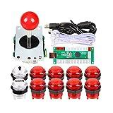 EG STARTS Ritardo Zero USB Encoder LED ai Giochi per PC Red Sticker Controller + 10x LED Pulsanti Luminosi per Arcade Joystick Fai da Te Kit Parts Mame Raspberry Pi