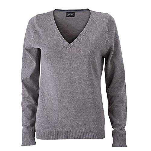 Ladies' V-Neck Pullover - taillierter Damen V-Neck Pullover M,grey-heather (Sweater V-neck Womens)