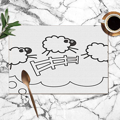 Placemats Set of 6,Counting Sheep Bubble Speech Insomnia Animals Wildlife Animal Heat-Resistant Placemats Washable Table Mats for Kitchen Dining Table 12X18 Inch Depression Glass Vase