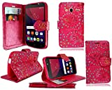 für Alcatel Onetouch Pixi 4 (4,0 Zoll) Hülle, Kamal Star® Kunstleder Tasche PU Schutzhülle Tasche Leder Brieftasche Hülle Case Cover + Stylus (Rose Pink Dimaond Book)