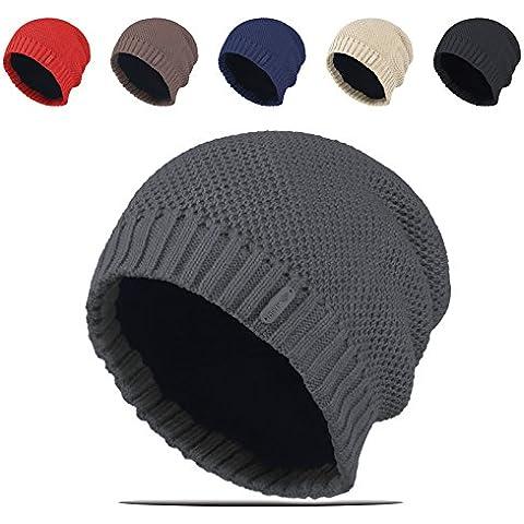 XMQC*Inverno Unisex y maglia solido lungo Beanie Hat rivestita in pile Skull berretto da sci