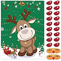LOKIPA Christmas Party Games Pin The Nose on The Reindeer for Kids and adult family Party Games (Reindeer)