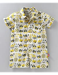 Nino Bambino 100% Pure Organic Cotton Regular Collar Neck Short Sleeve Button Closure Multicolor Fish & Boat Printed Half Romper For Baby Boys With Pocket