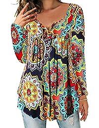 9b9773a86ed5 DEMO SHOW Damen Tunika Top Locker Langarm V Ausschnitt Knopfleiste  Plissiert Floral Henley Shirt Bluse T