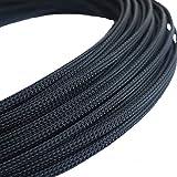 5m de long 6mm de large Vert tressé en nylon élastique extensible Gaine câble Harnais Noir