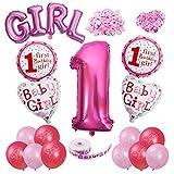 Vordas Happy Birthday Baby Girl Mädchen 1. Geburtstag Party Luftballons Set Supplies, Perfekte Dekoration für Babyparty-Party