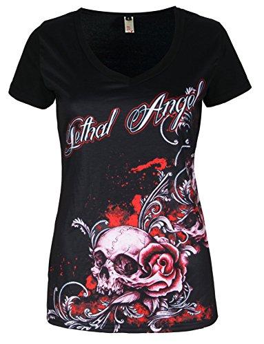 kull Gothic T-Shirt Tops V-Neck Kurzarm - Girlie (Girls Gothic Kostüme)