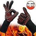 Globalhelios Grillhandschuhe rot, rutschfeste Silicon Backhandschuhe, Kaminhandschuhe, Ofenhandschuhe, hitzebeständig bis 500°C angenehmer Schutz vor Hitze Extra Langen Armschutz