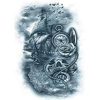 Brújula Reloj de bolsillo Barco Tattoo Arm Tattoo km146