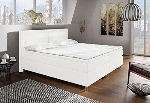 Cama con somier cama Bruselas/Supreme/Classic/Hotel cama, weiss kunstleder, 180 x 200