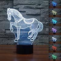 KING DO WAY 3D di Natale LED USB Luci Notturne Personalità Lampada Decorativa del LED Nightlight Luci Colorate Zebra - Piastre Zebra