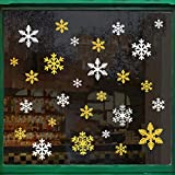 Naler 60 Schneeflocken Glitzer Fensterbild Abnehmbare Fensterdeko Statisch Haftende PVC Aufkleber Winter Dekoration (Golden, Silbern)