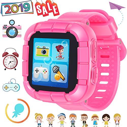 TURNMEON Jeu Enfants Montre Intelligente Smart Watch pour Enfants Garçons Filles avec Appareil Photo Jeux Timer Réveil Podomètre Smartwatch Wristwatch Wristband Électronique Jouets (01 Rose)