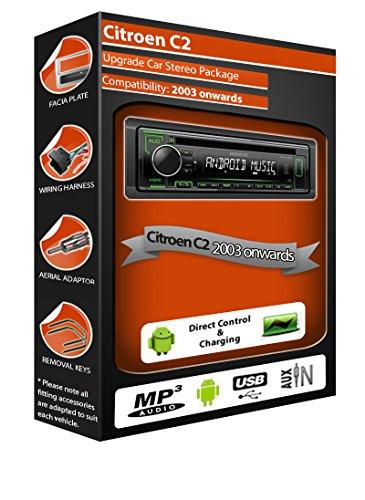 Citroen C2auto stereo radio, Kenwood CD lettore MP3con porta USB AUX IN