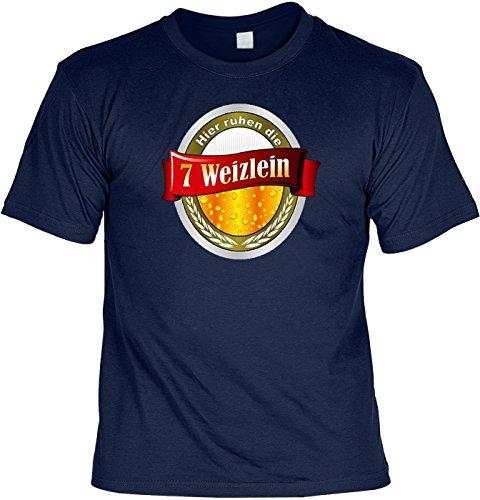 Bier T-Shirt Hier ruhen die 7 Weizlein Shirt bedruckt Geschenk Set mit Mini Flaschenshirt Navyblau