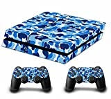 Camouflage Tarnung Skin Sticker Decal Aufkleber for Playstation 4 PS4 Console Controllers (blue)