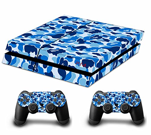 Camouflage Pleins Skin Sticker Faceplates Pour Console PS4 x 1 et le manette x 2 (blue)
